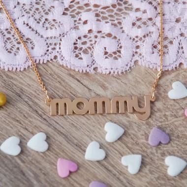 """Pozlátená retiazka """"mommy"""" ružová"""